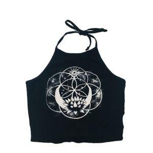 LA Hearts | Lotus Flower of Life Black Crop Top